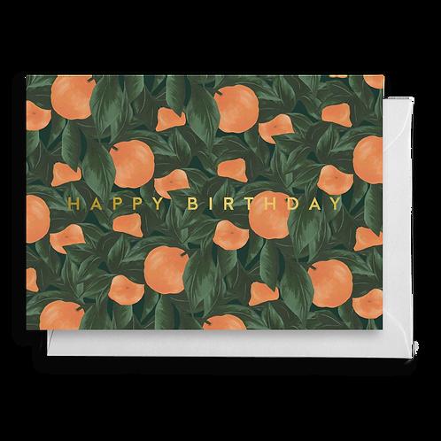 Orange Fruit Leaf Birthday Card
