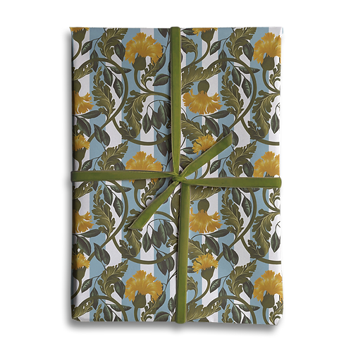 Vintage Yellow Flower Stripe Wrapping Paper