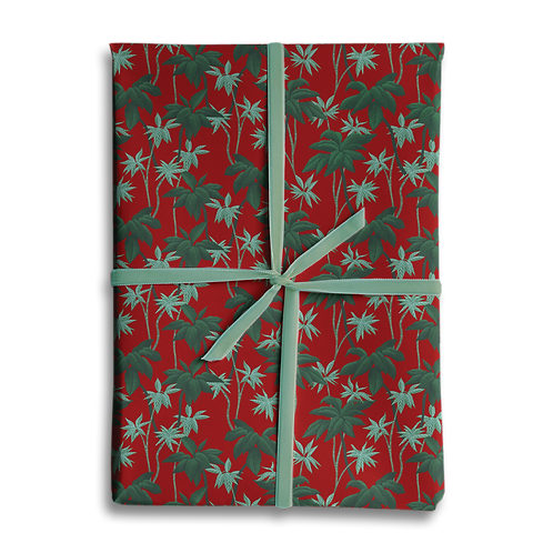 Tropical Red Jungle Palms Wrapping Paper