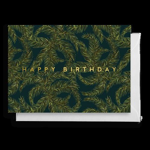 Dark Tropical Palm Leaf Birthday Card