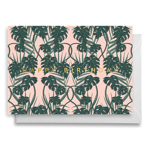 Pink Monstera Birthday Card