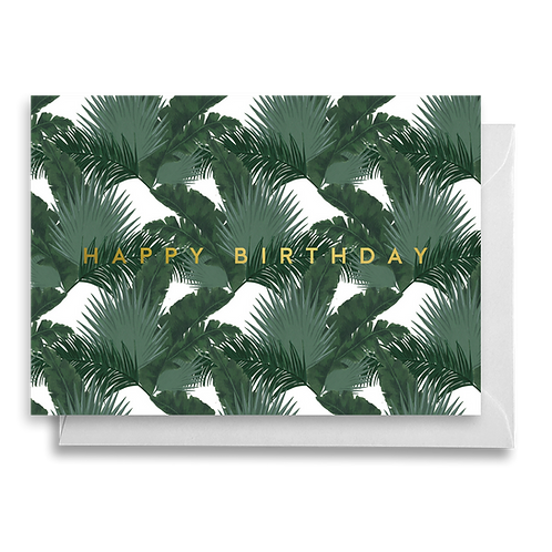 Tropical Dark Mixed Palms Birthday Card