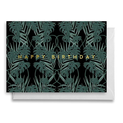 Dark Monstera Birthday Card