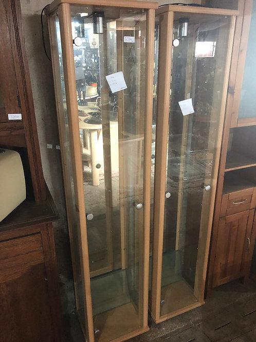 2 étagères en bois claire et verre