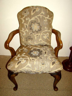 Carved Walnut Upholstered Armchair