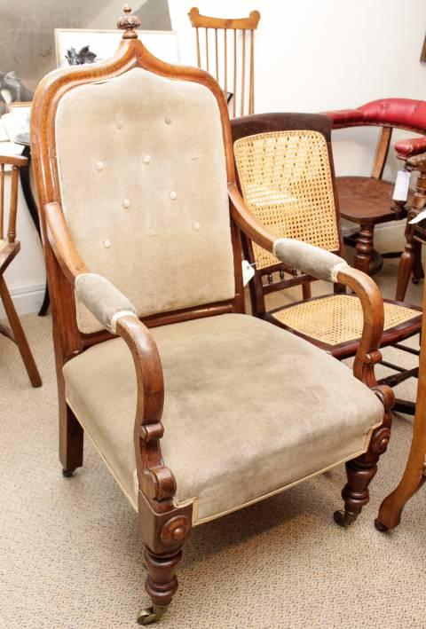 Victorian Gothic Oak Armchair