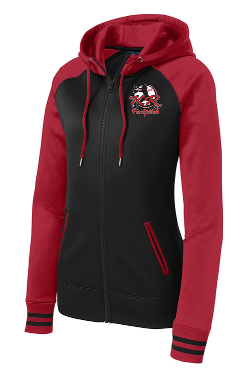 Ladies Sportek Varsity Fleece with left chest print in 2 color choices