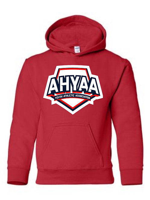 Youth Hoodie Gildan 18500B Hoodie with Full logo choose Red, or Navy
