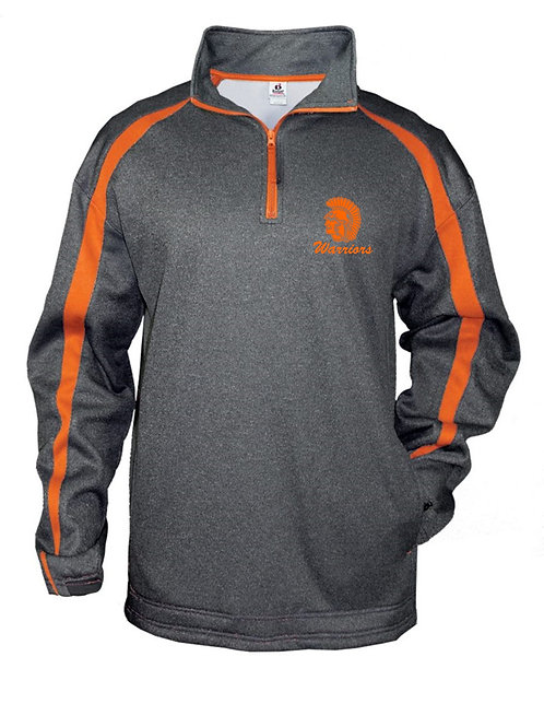 Badger 1481 Quarter Zip Heather/ Orange Stripe