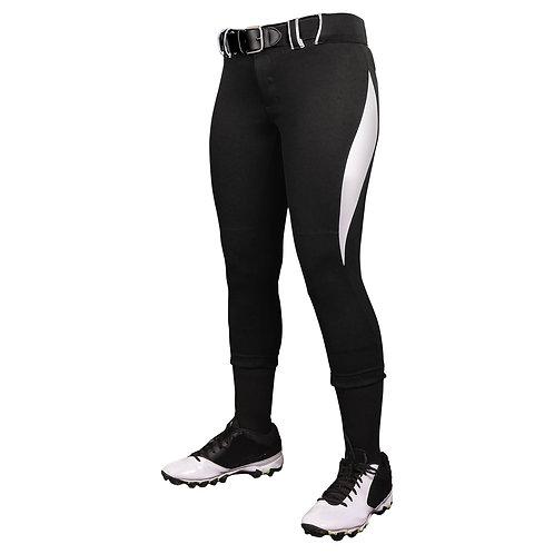 BP28 Low Rise Softball Pants Blk w/white swoosh