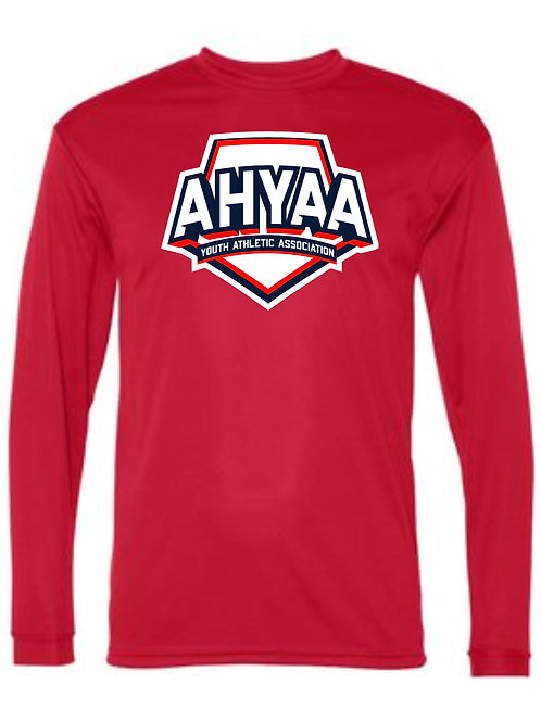 Youth Long Sleeve Dry Fit 5100  with full logo Choose Red or Nav