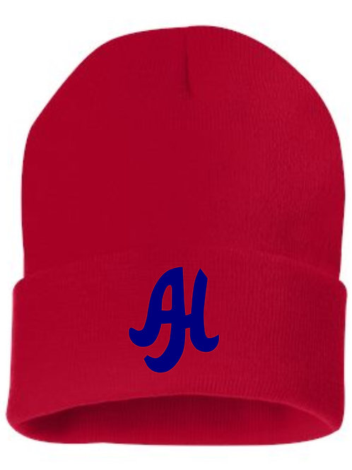 Beanie SP12 with embroidered AH Choose Red or Navy