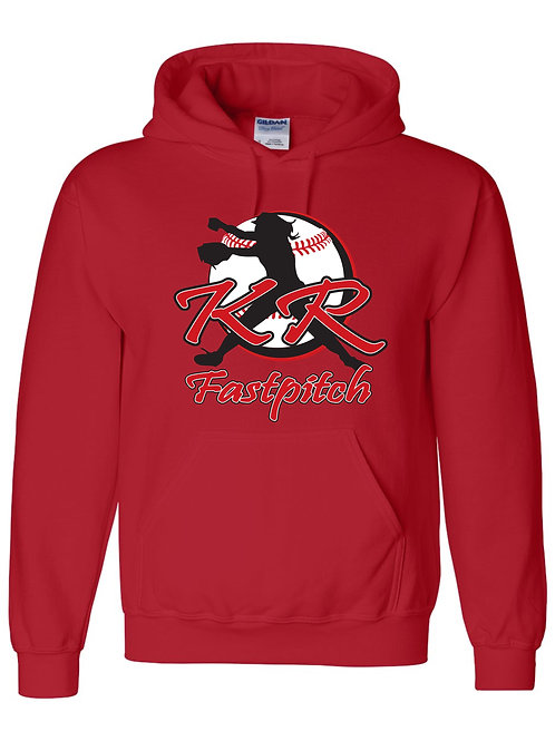 Gildan Hoodie Red, Black, Grey with full front logo Tall Sizes Available