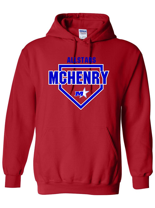 Red or Royal Hoodie with 2 color front print