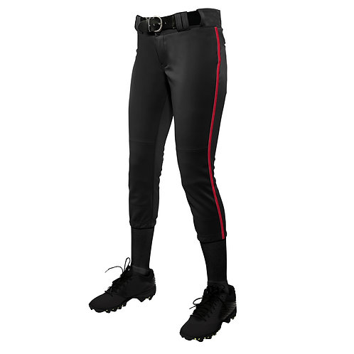 BP11 Low Rise Softball Pants Blk w/Red Braid