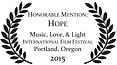 Music Love Light Portland Film Festival Honorable Mention Hope