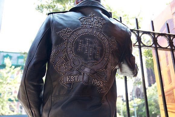 HH Leather Logo Studded Jacket