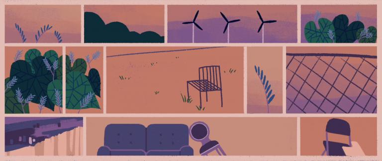An assortment of bright animated images e.g-wind turbines, sofas and chairs, leaves