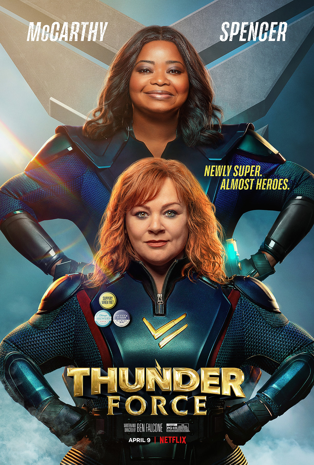 The main leads, McCarthy and Spencer, pose as superheroes best buddies with the film's titles and credits underneath.