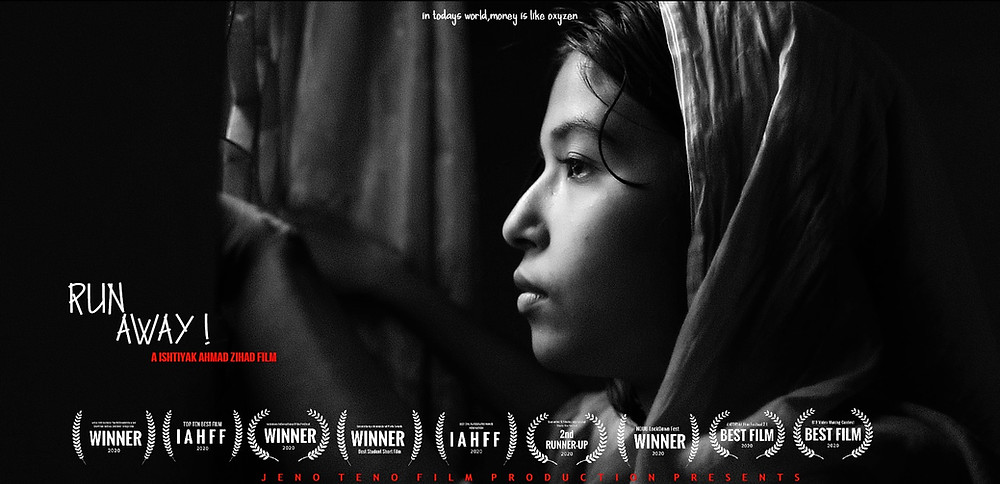 A young Bangladeshi woman looks out of a window in sadness; the film's title and list of accolades line the bottom of the image