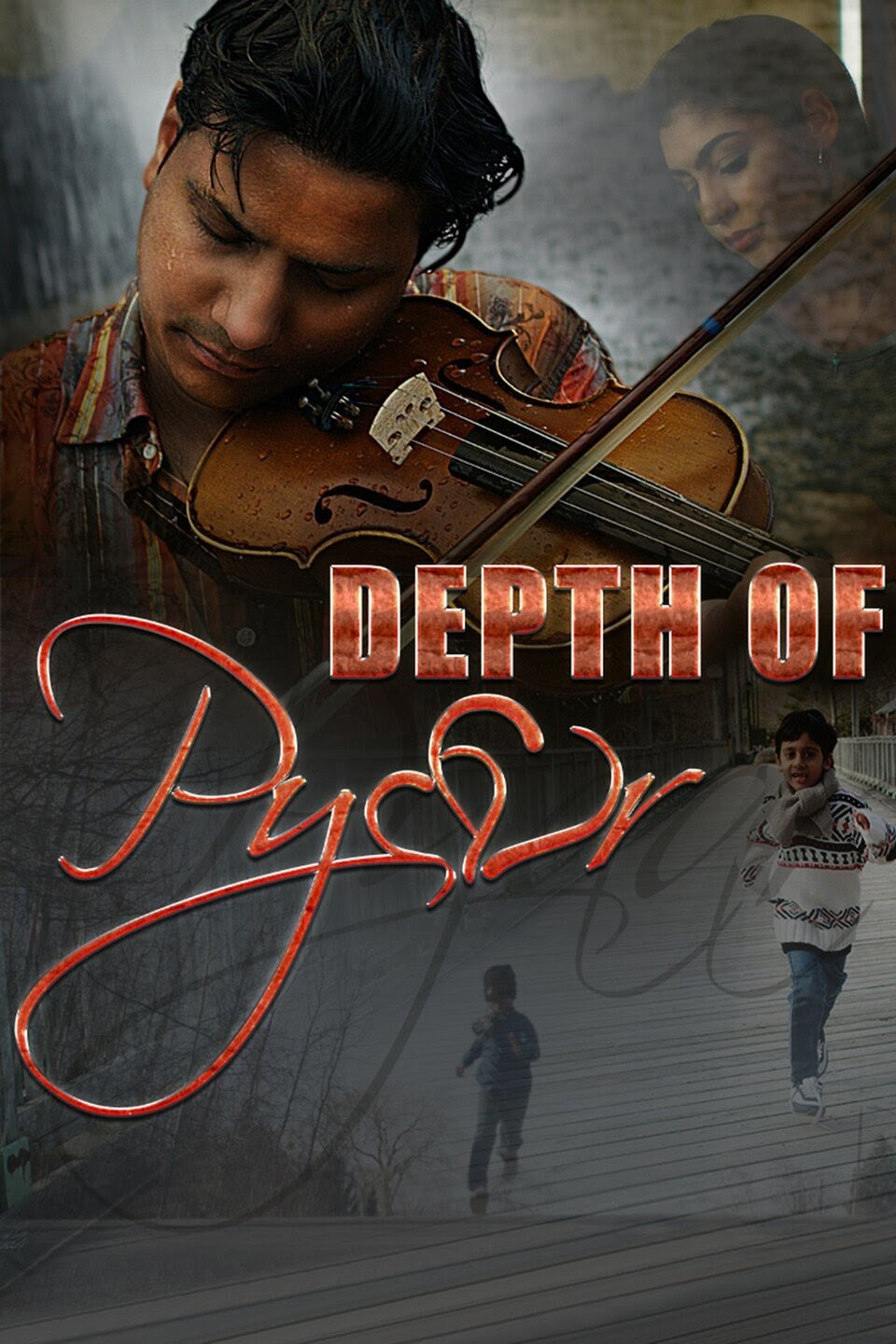Hindi man playing violin; image of young woman in top corner; images of two young Hindi boys running happily