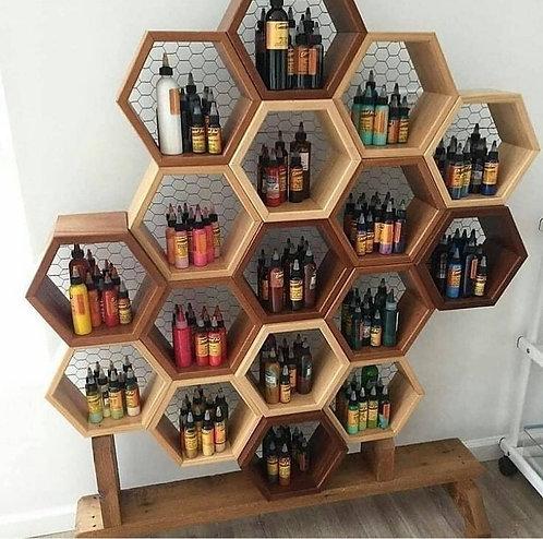 Hexagon uppställnings hyllor för frisörsalonger