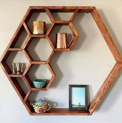 Hexagon hylla i ek