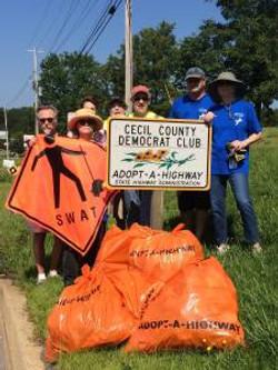 Volunteers picking up trash