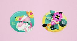 Postage stamps illustrations