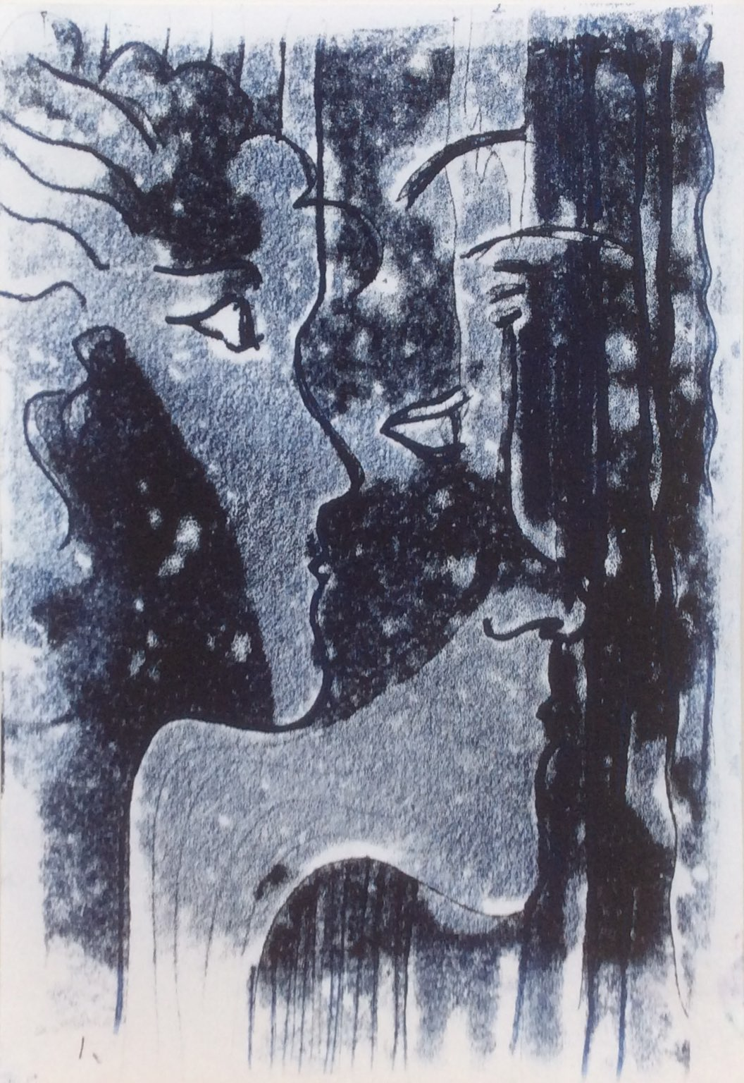 Faces monoprint 21x30