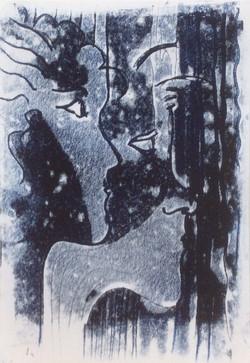 Faces monoprint 21x30