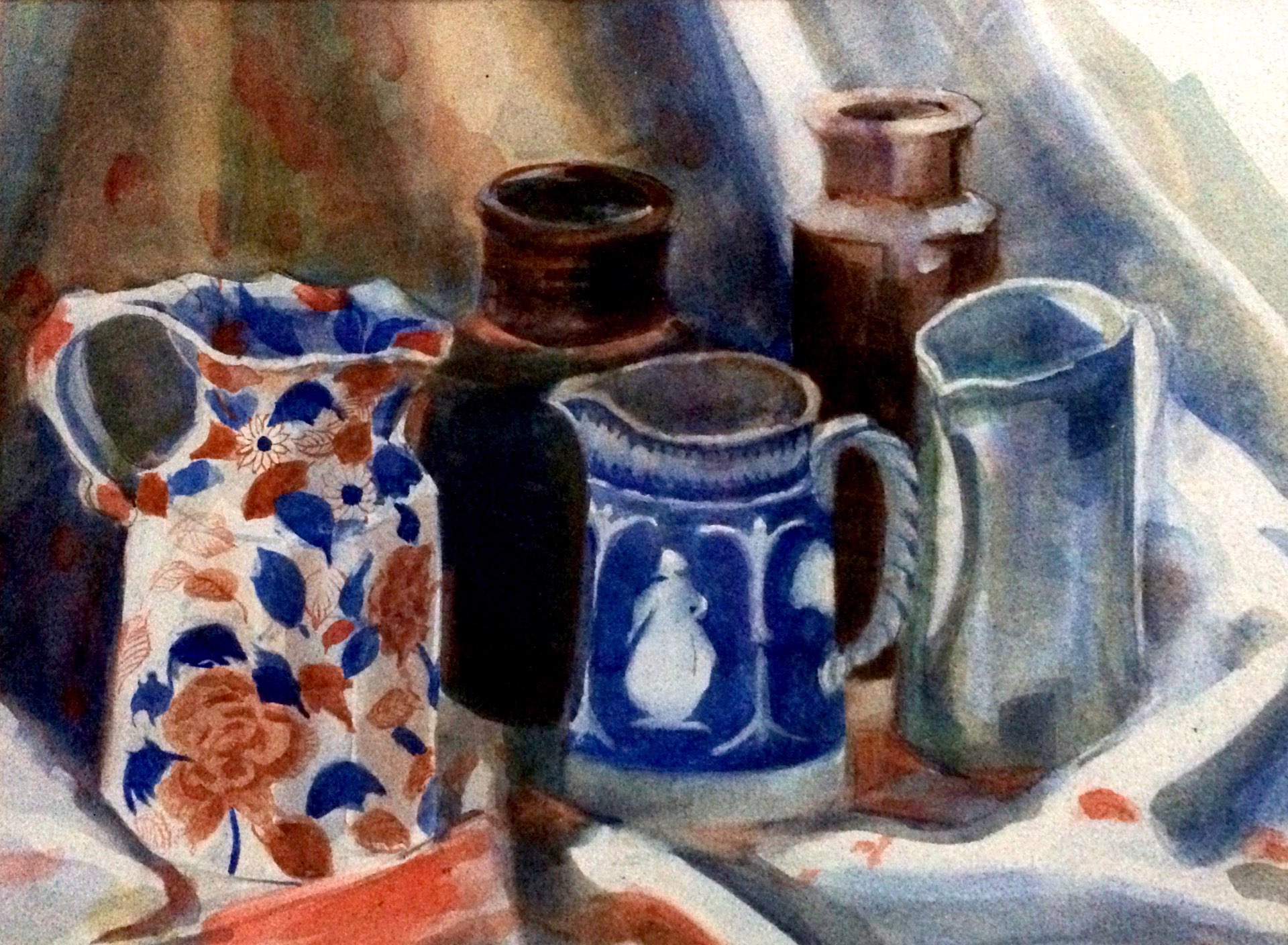Still life with jugs watercolour 40x50