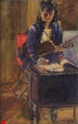 Violinist at work oil 23x34 SOLD