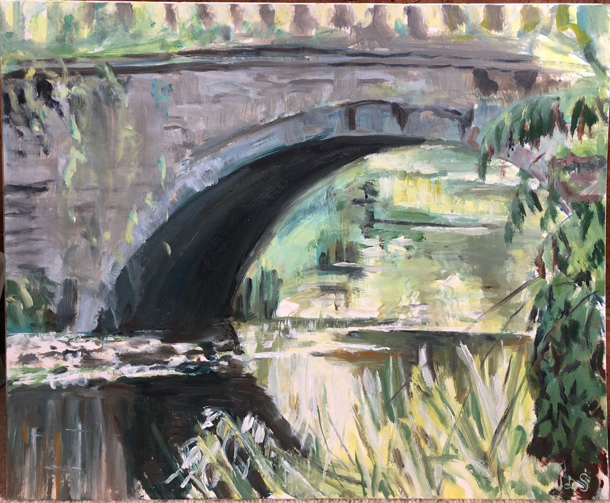 Bridge over troubled waters 44x36 oil