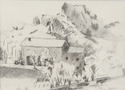 House in Lois pencil and ink 29x22