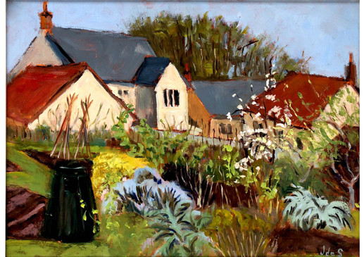 Spring in the Allotments 19.5x15.5 oil