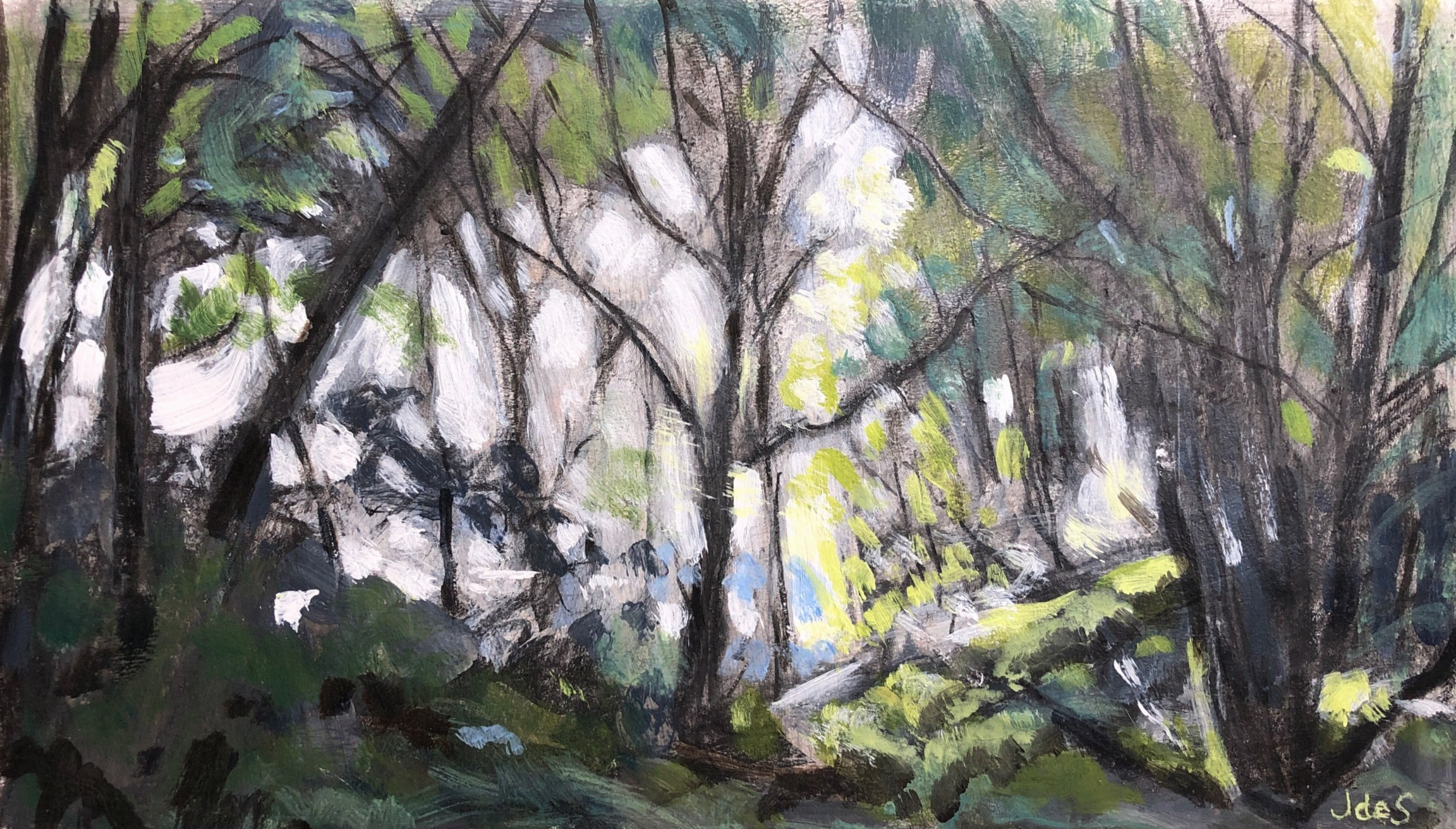 Shady glade 34x20 mixed media