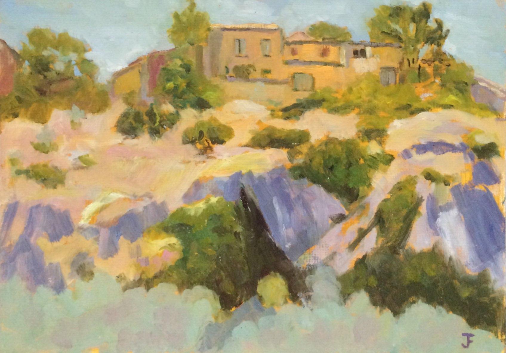 Oppedette hillside village oil 42x30
