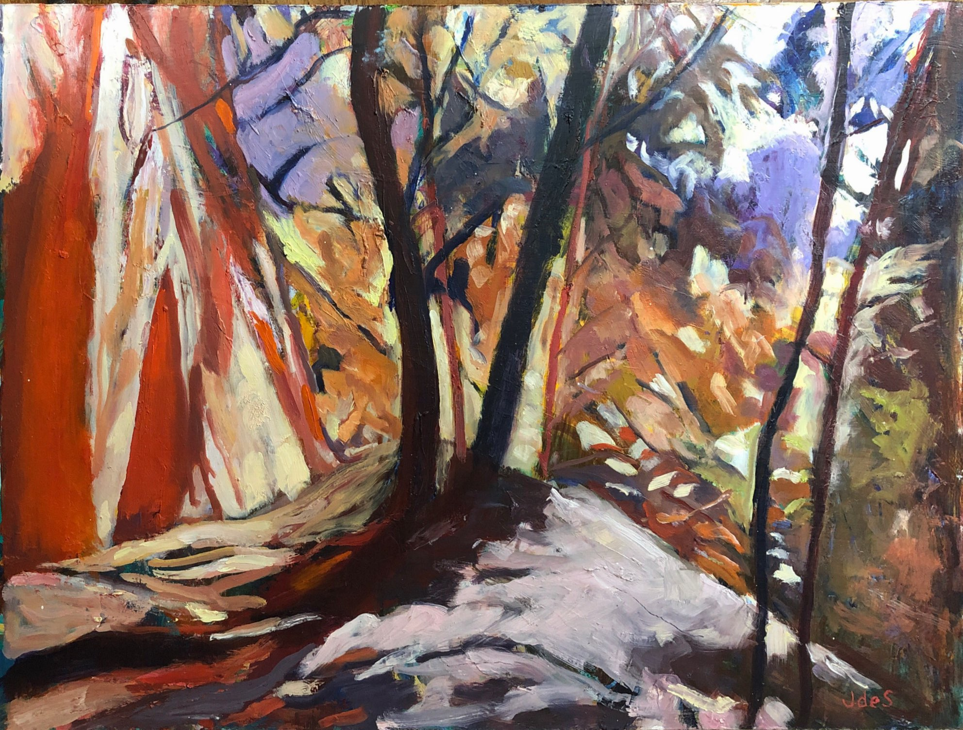 Trees on fire 51x39 oil
