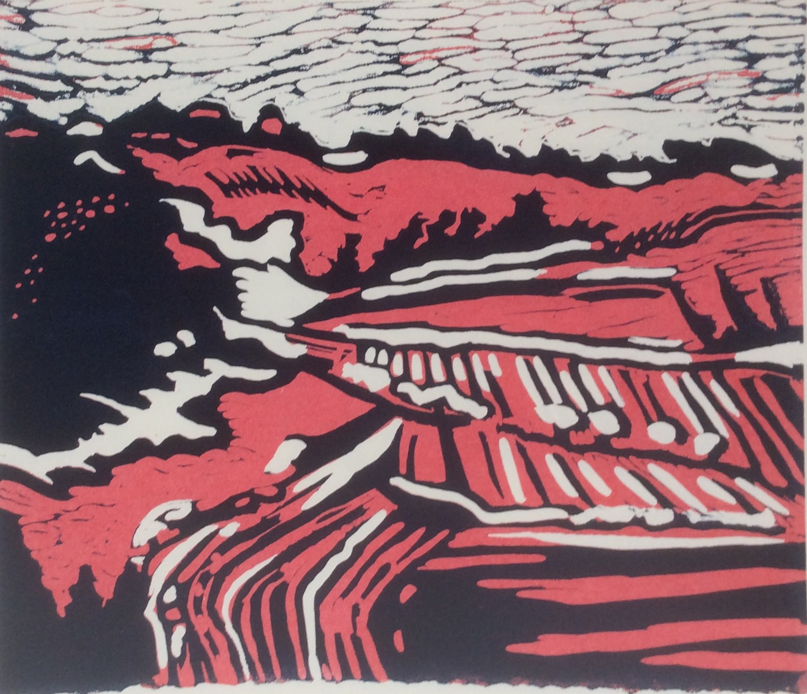 Fyfield Down 2 lino print 29x24