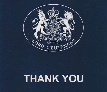The TNR has received  a 'thank you' letter from HM Lord-Lieutenant of Wiltshire.