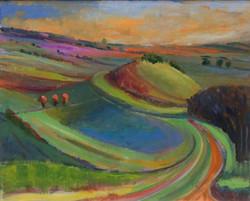 Colourful landscape oil 50x41