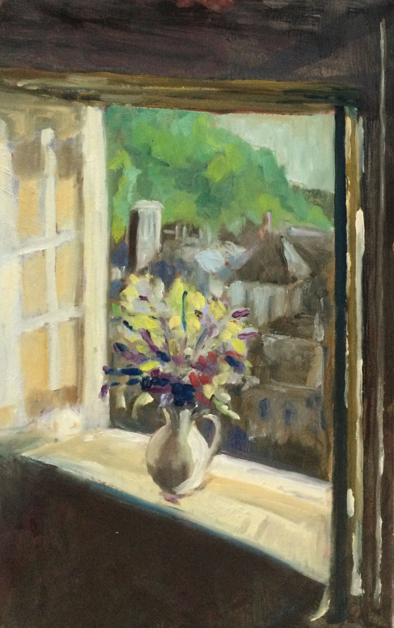 Flowers on a windowsill oil 24x38