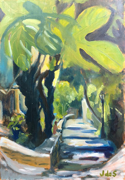 Sunlit path 29x41 oil