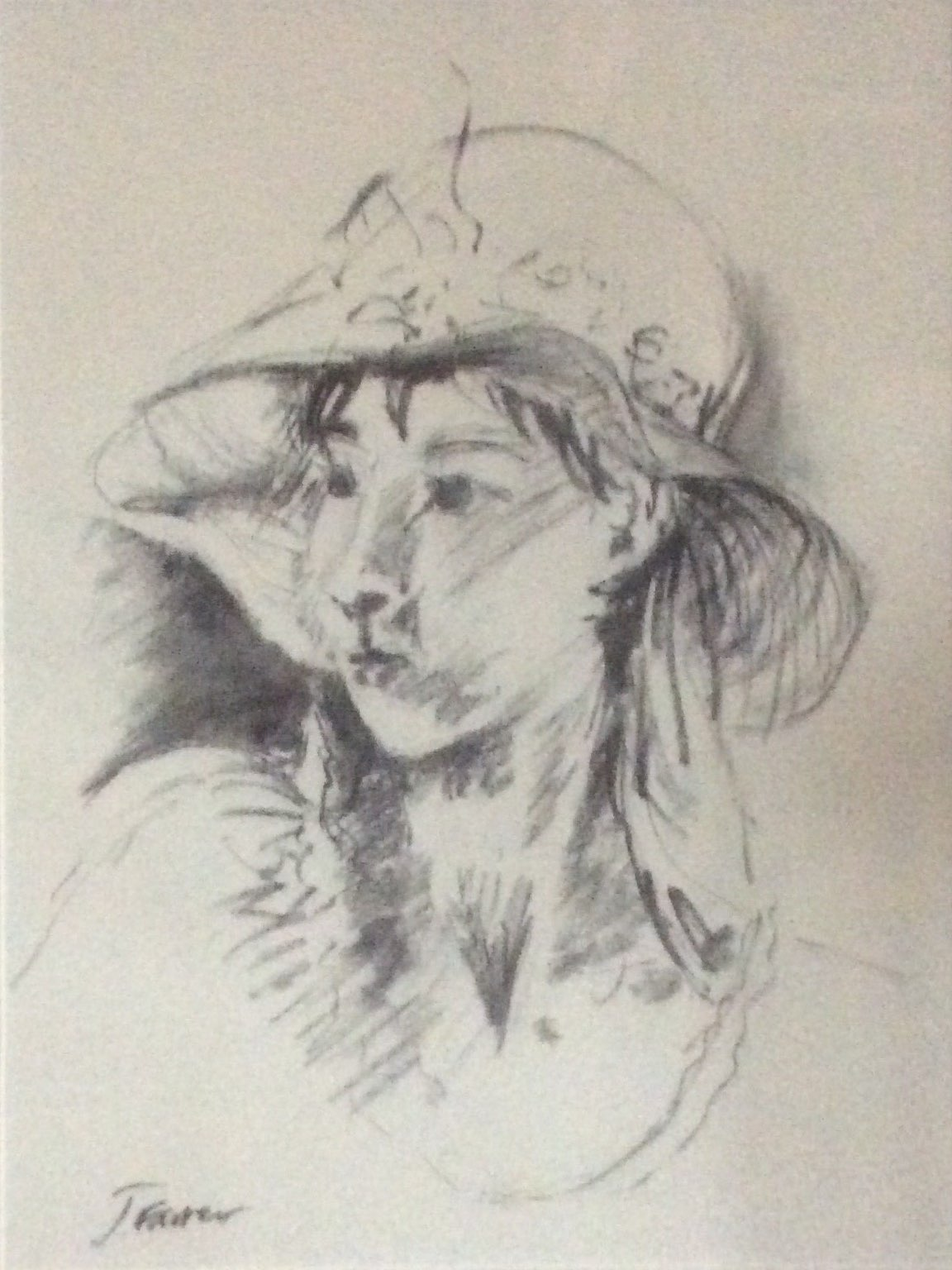 Lucy in a hat charcoal 41x53