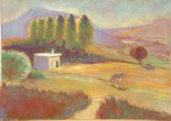 Greek landscape pastel 50x35