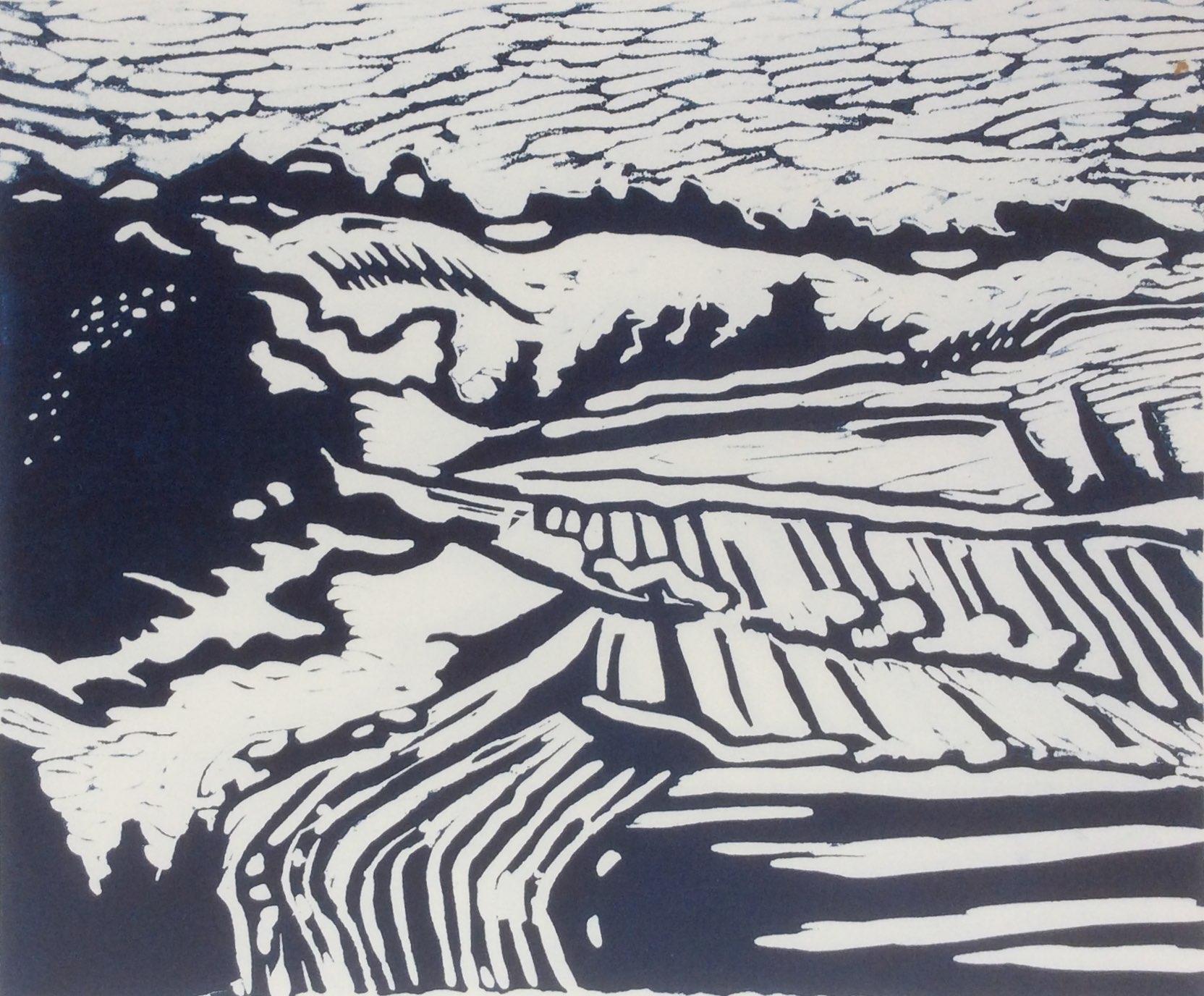 Fyfield Down 3 lino print 29x24