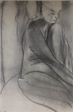 Figure in a chair charcoal 50x75