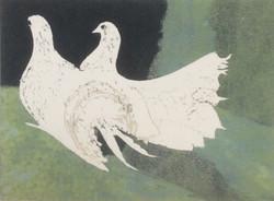 2 doves wood block 30x22