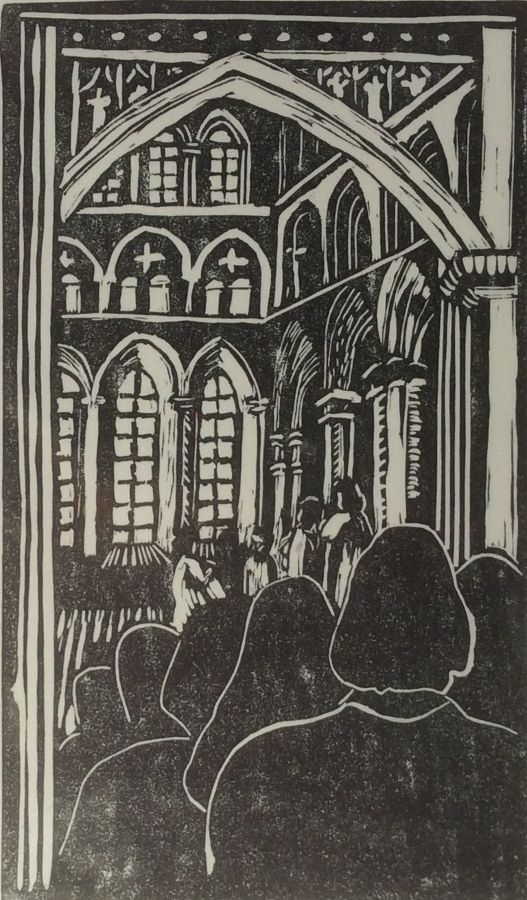 Singing in the cathedral linocut 15x24